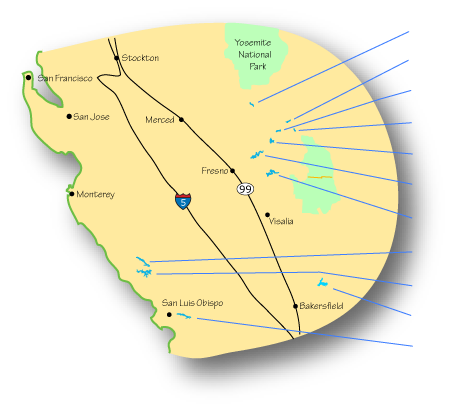 Map of Central California Lakes